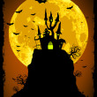 Scary halloween vector with magical abbey. EPS 8 - Imagens vectoriais em stock