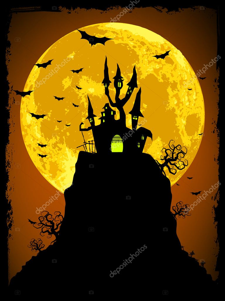 Scary halloween vector with magical abbey. EPS 8 vector file included  — Stock Vector #6009935