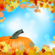 Fall leaves with pumpkin and sky background. EPS 8 - Imagen vectorial