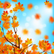 Red and yellow leaves against blue sky. EPS 8 — Stockvektor