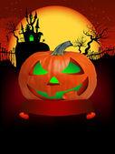 Pumpkin Halloween Card with hanged man. EPS 8 — Stock Vector