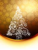 Christmas tree illustration on golden. EPS 8 — Stock Vector