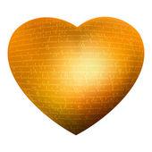 золотое сердце, свечение буквы, текст - люблю тебя. eps 8 — Cтоковый вектор