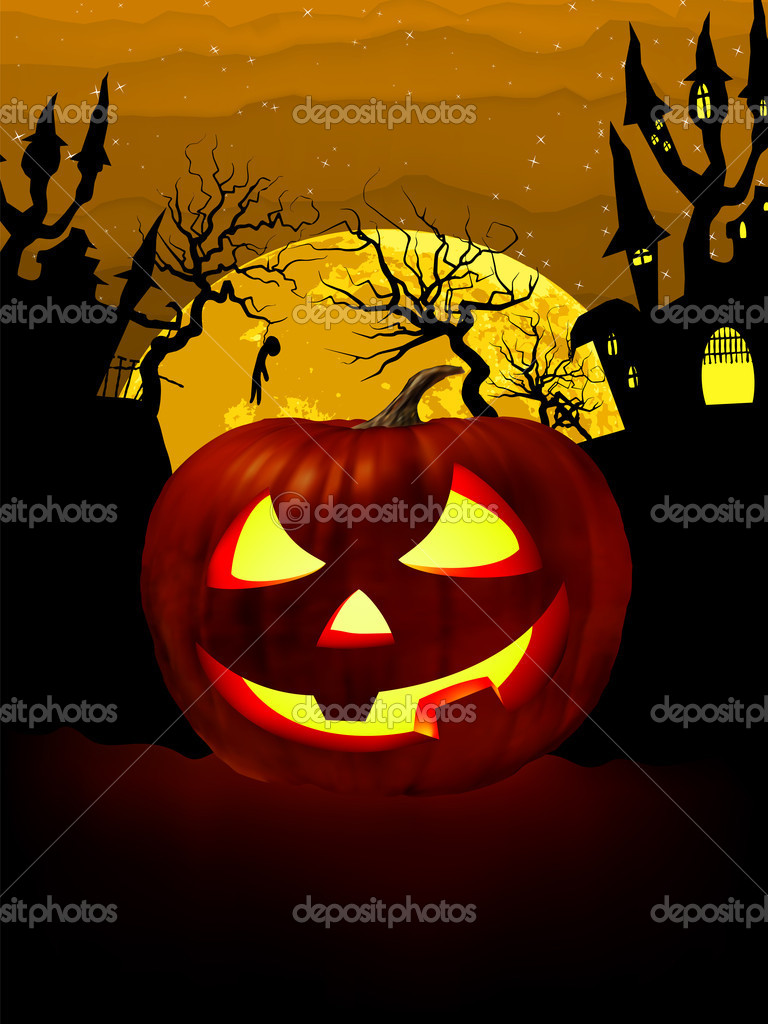 Pumpkin Halloween Card with hanged man, old house and moon. EPS 8 vector file included — Stock Vector #6070263