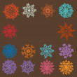 Cute Retro Snowflakes. EPS 8 - Imagens vectoriais em stock