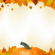 Colorful autumn card leaves with Pumpkin. EPS 8 — Stockvectorbeeld