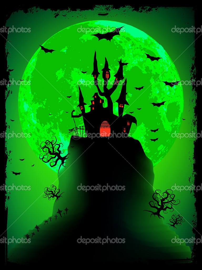 Scary halloween vector with magical abbey. EPS 8 vector file included — Stock Vector #6178283