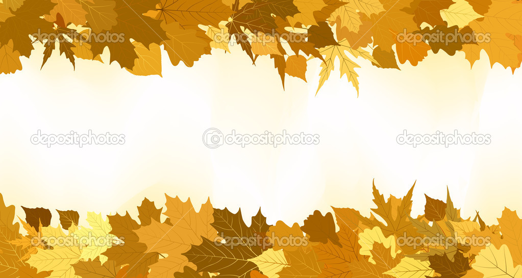 Golden autumn border made from leaves, background. EPS 8 vector file included — Stock Vector #6202109