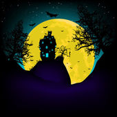Haunted House at night with moon. EPS 8 — Stock Vector
