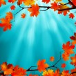 Red and yellow leaves against a blue sky. EPS 8 — 图库矢量图片