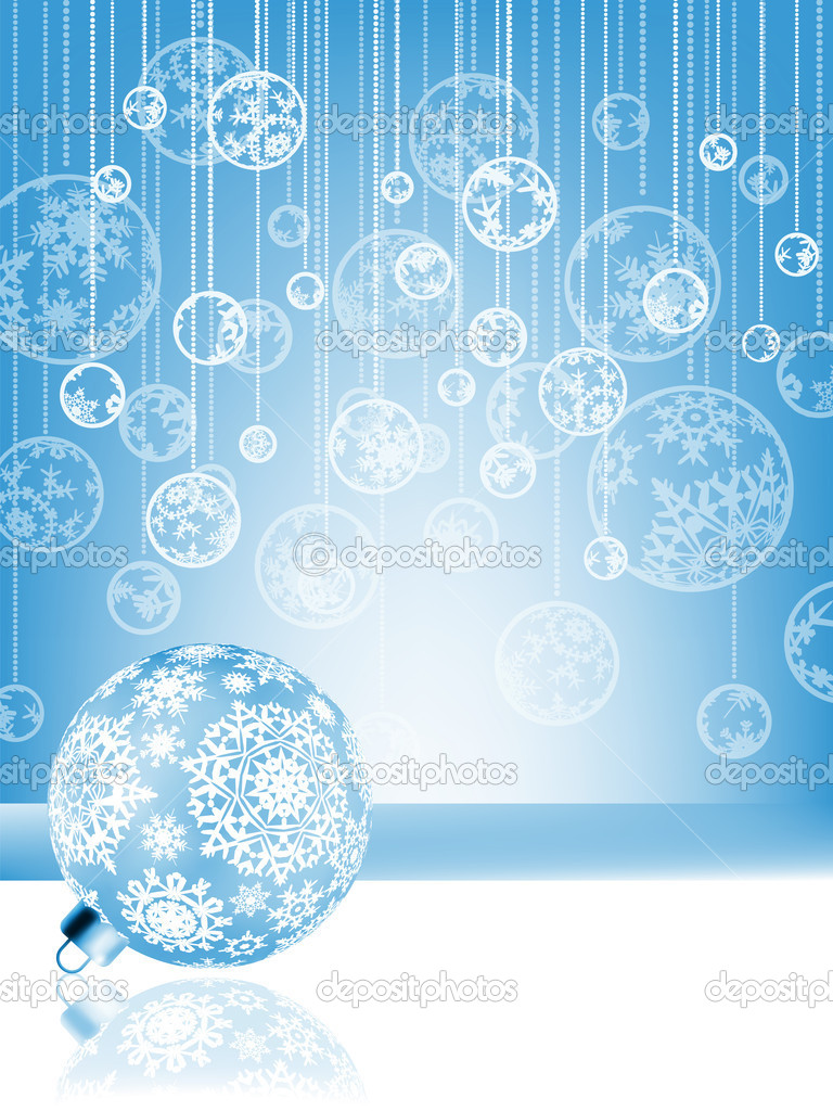 Blue christmas card with baubles . EPS 8 vector file included — Stock Vector #6571919