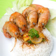 Rice with shrimp - Stock Photo