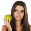 Girl with a green apple, emotions — Stock Photo
