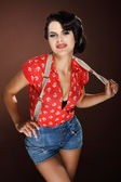 A photo of beautiful brunette is in style of pinup, glamur — Stock Photo