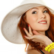 Portret beautiful redheaded girl in summer style — Stock Photo #6486771