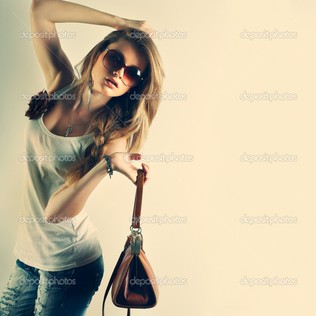 A Photo Of Beautiful Girl Is In Fashion Style Stock