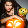 Sexual brunette in the suit of witch in night of Halloween — Stock Photo #6695904