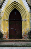 A door of the old Lutheran church — Stock Photo