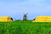 A windmill and haystacks at the beautiful countryside — Stock Photo