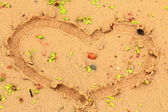 A heart made in the sand — Stock Photo