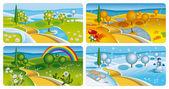 四个季节横幅 — 图库矢量图片