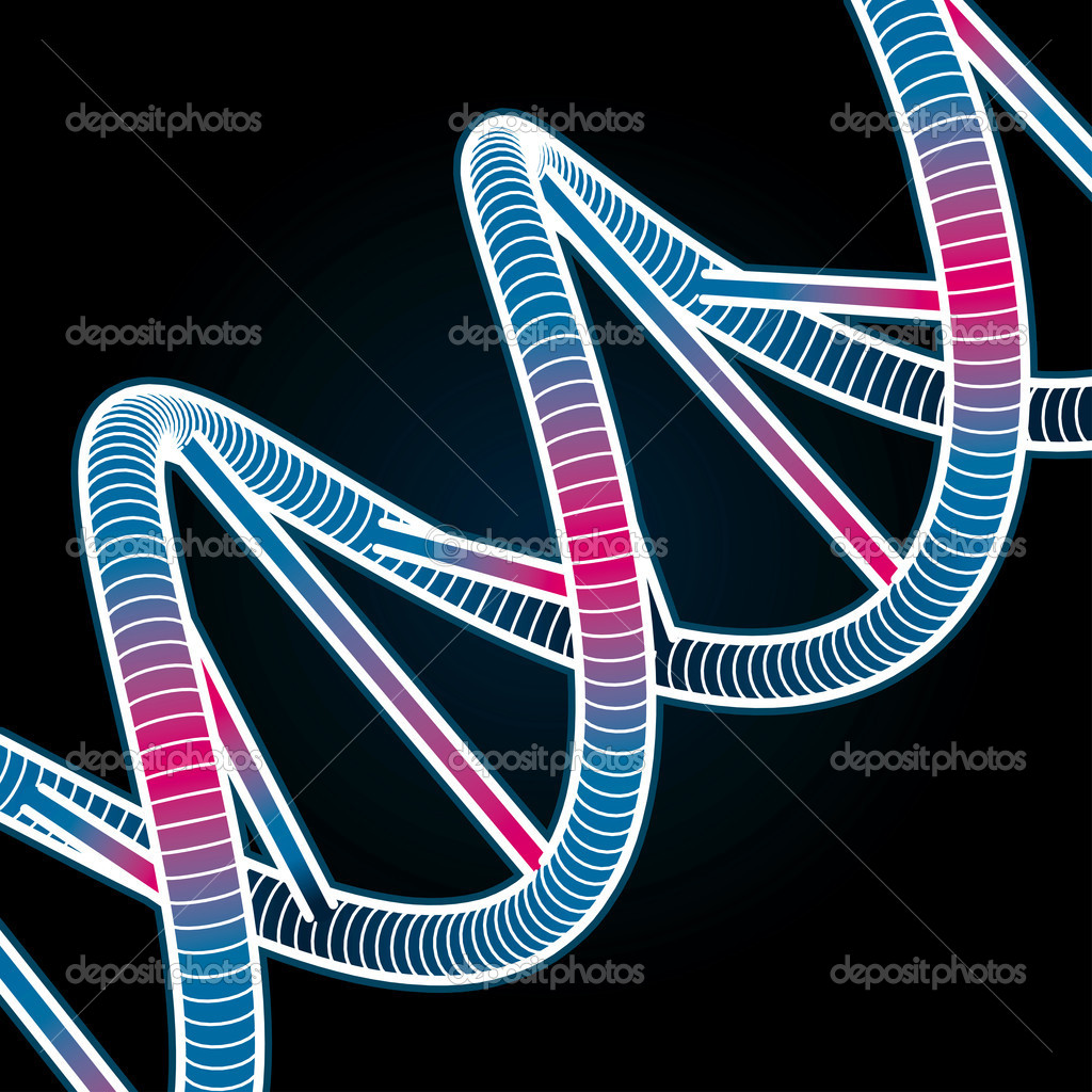 Glowing DNA Symbol on black background. Vector Illustration — Stock Vector #6695674