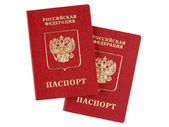Two russian international passports isolated on white background — Stock Photo