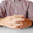 Mens hands sitting opposite at table — Stock Photo #6004198