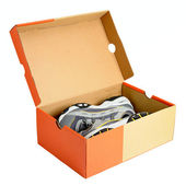Pair of sneakers in shoe cardboard box isolated on white background — Stock Photo