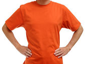 Orange t-shirt on young man isolated on white background — Stock Photo