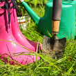 Stock Photo: Pink wellingtons in the Spring garden