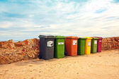 Collection of bins at the beach — Stock Photo