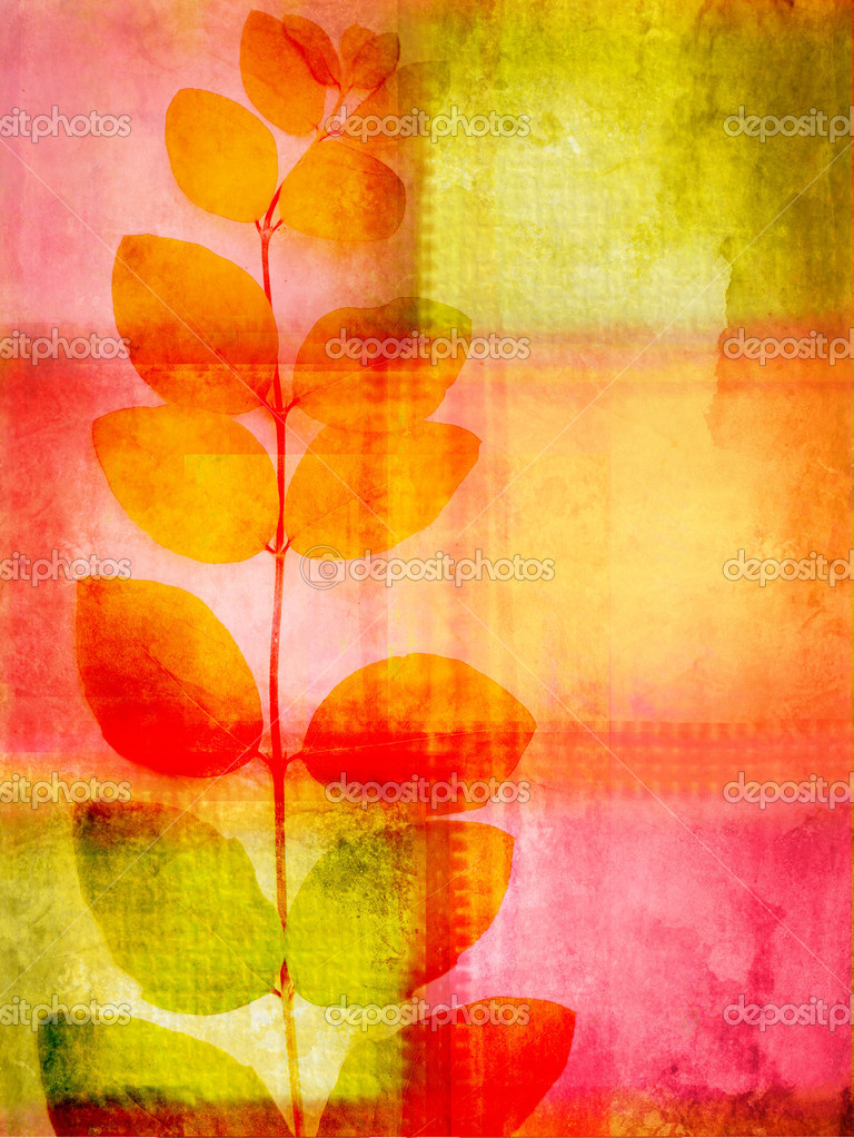 Beautiful , colourful grunge background with squares and leaves  Stock Photo #6363548