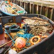 Fishing equipment in the boat — Stock fotografie