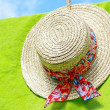 Summer gardener's hat on green — Stock Photo