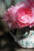 Sevimli pembe gül vazoda — Stok fotoğraf
