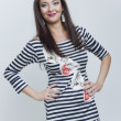 Fashion beautiful girl in stripes clothes - Stok fotoraf