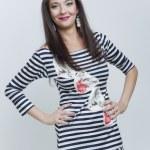 belle fille de mode vêtements stripes — Photo