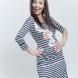 Happy fashion girl in stripes clothes — Stock Photo #5459633