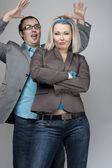 Funny business couple — Stock Photo