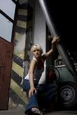Girl in car work — Stock Photo