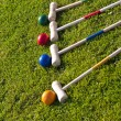Croquet family garden game — Stock Photo
