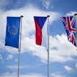 Royalty-Free Stock Photo: European union, czech and english flag
