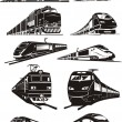 Train silhouettes — Stok Vektör
