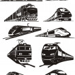 Train silhouettes — Stock Vector