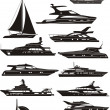 Stock Vector: Silhouettes of boats