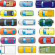 Cars overhand view set - Imagen vectorial