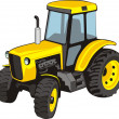Old yellow  tractor — Stock Vector