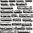 Stock Vector: Set of bus silhouettes