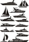 Silhouettes of the boats — Stock Vector